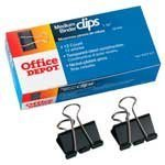 Office Depot(R) Binder Clips, Black, Medium, 1 1/4in. Wide, 5/8in. Capacity, Box Of 12