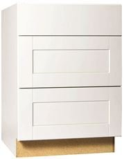 3 Drawer Base Cabinet (HAMPTON BAY KDB24-SSW Rsi Home Products Shaker 3-Drawer Base Cabinet, White, 24