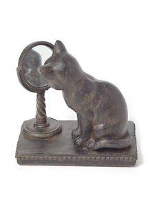 Resin Cat with Mirror Figurine,Bronze/Black,3.5