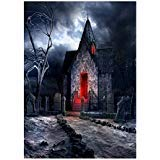 90150cm 3D Halloween Creepy Backdrop Realistic Horror House Scary Night Background for Parties Photography Studio Photo Booth ()