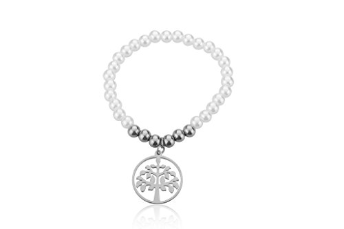 EDFORCE Fresh Water Pearl Bracelet with Tree of Life Charm