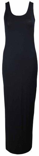 Uni Noir Neuf Longueur Sans Manche Maxi Extensible t Col Purple Robe Longue Pleine Rond Hanger Femme wfp1ZI1x