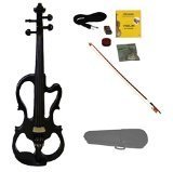 Merano MVE10BK 4/4 Full Size Fitted Electric Silent Violin with Case and Bow, Black/Ebony by Merano