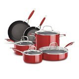 KitchenAid KCAS10ER Aluminum Nonstick 10-Piece Set Cookware - Empire Red ()