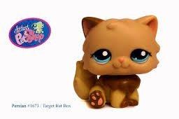 Littlest Pet Shop Persian Cat #1673 Rare Blue Eyes Cream & Brown