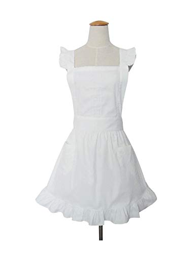 Cute White Retro Lady's Aprons for Women's Kitchen Cooking Cleaning Maid Costume with Pockets ¡­ (50s Aprons For Women)
