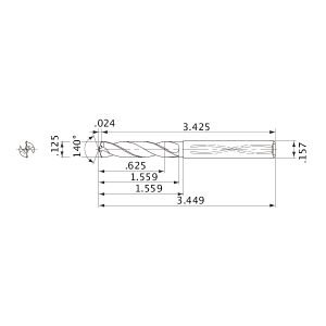 Solid Carbide Internal Coolant Drill ALTiN Coating Mitsubishi MWS01250LB PART NO 5XD MWS Series MBH314077 1//8