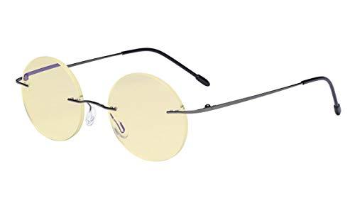 Eyekepper Computer Reading Glasses Blue Light Blocking-Round Rimless Readers Men Women Yellow Tinted,Gunmetal +1.75