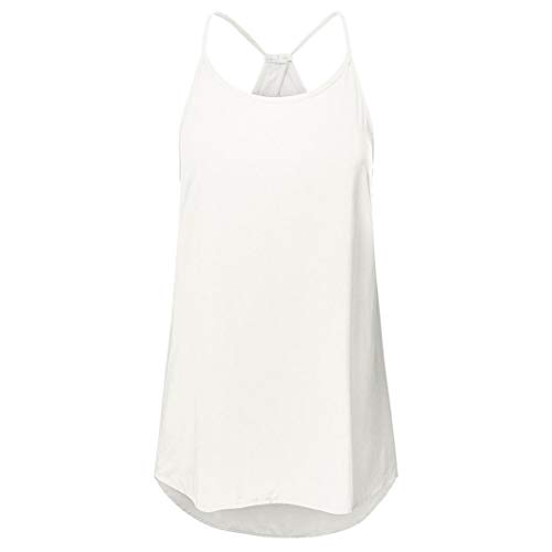 VESNIBA Women Solid Hollow Out Sleeveless Criss Cross Vest Pullover Tops Shirt