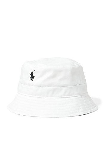 Polo Ralph Lauren Men`s Loft Bucket Hat (Small/Medium, Pure White (3001) / Navy)