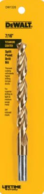 - DEWALT DW1328 7/16-Inch Titanium 3/8-Inch Reduced Shank Split Point Twist Drill Bit