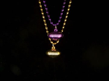 33 INCH - PURPLE OR GOLD FOOTBALL MARDI GRAS BEAD
