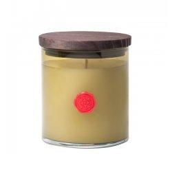 Aromatique Fresh Geranium & Mint 14 oz Glass Medium Round Candle with Wood Lid