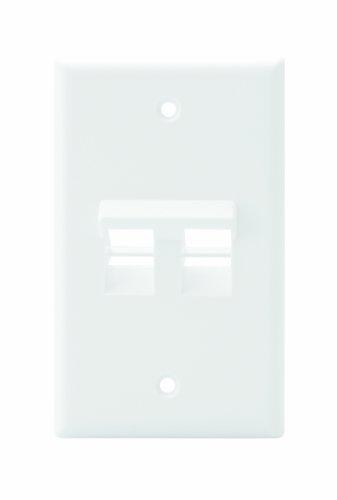 (Leviton 41081-2WP Angled QuickPort Wallplate 2-Port, Single Gang, White)