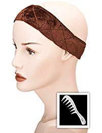 (Cardani Magic Wig Grip Headband and Wig Comb I Non Slip Velour Secures Wigs Brown)