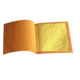 sim gold leaf 10 Sheets, 3-1/8 inches Booklet (Loose Leaf) Professional Quality Genuine Edible Gold Leaf Sheets, 24k