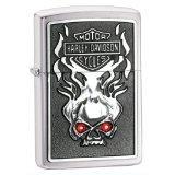 Zippo H-D Skull Red Crystal Emblem Pocket Lighter (Pocket Swarovski Crystal)