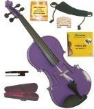 Merano MV300PR 4/4 Full Size Purple Student Violin Case and Bow with Extra Set of Strings