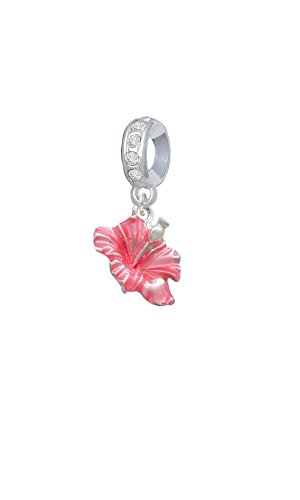 (Silvertone Hot Pink Hibiscus Flower - Clear April Birthday Crystal Charm Bead)