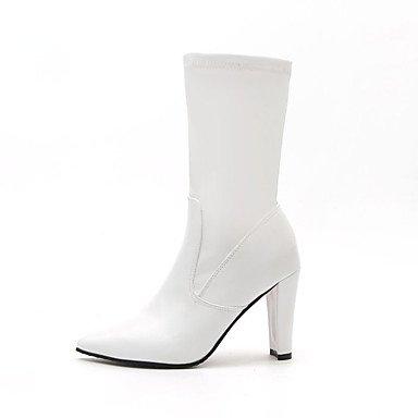 Invierno 3a Polipiel Pulg Botas Mujer Black Otoño 3 4 Confort Vestimenta 3 La Talón Negro Informal Moda Chunky Blanco RpXSWHRq