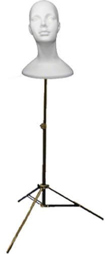 Female Head Deluxe, Styrofoam, White/with Adjustable Tripod Stand