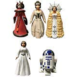 (Disney Star Wars Queen Amidala and Princess Leia Figures Deluxe Dress Up Set With R2-D2 - Disney Parks)