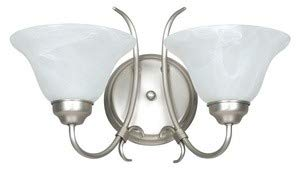 Madrid 2 Light Wall Sconce Finish: Satin Nickel, Shade Color: Faux Alabaster