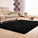 (Living Room Rug, CWKTITI Super Soft Indoor Modern Shag Area Rugs Bedroom Rug for Children Play Solid Home Decorator Floor Rug and Carpets 4- Feet By 5- Feet, Black)