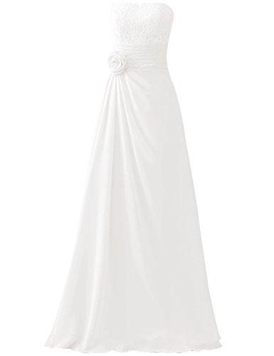 HUINI Cord¨®n Flor Largo Gasa Paseo Vestidos de dama de honor Sin tirantes Boda Fiesta Formal Vestidos Blanco