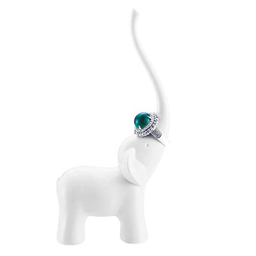 BESKIT Elephant Ring Holder for Jewelry, Engagement Wedding Ring Display Holder Stand Trinket Tray (White) ()
