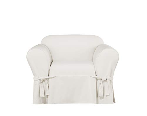 (Sure Fit Essential Twill Straight Skirt One Piece Chair Slipcover with Scotchgard - White)