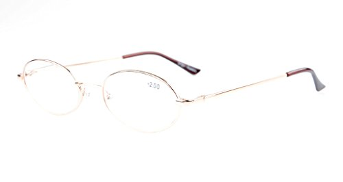Eyekepper Titanium Memory Bridge Spring Hinges Oval Reading Glasses Gold ()