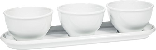 Elegant Pure White Porcelain 3 Mini Bowls Server with Oblong Relish Tray, Buffet Server for Candy, Nuts and Dips. Dip and Condiment Server