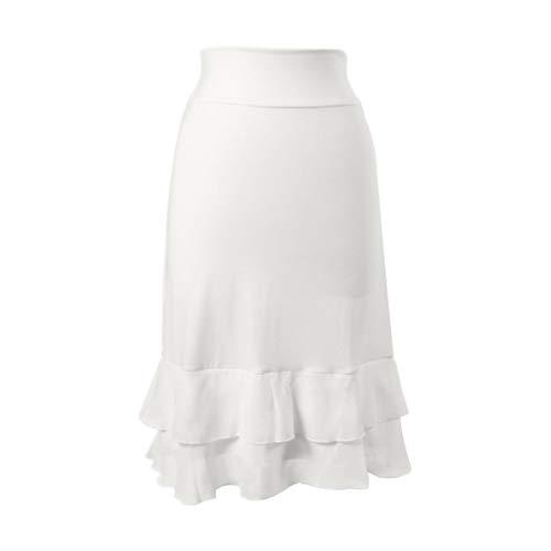 Peekaboo-Chic Iris Chiffon Half Slip Skirt Extender - Womens Plus Skirt Extender - White Skirt Extenders for Women - 1X Bleach White