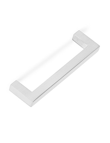 (BirdRock Home Square Contemporary Handle | Brushed Nickel | 10 Pack | 3.75 Inch Kitchen Cupboard Furniture Cabinet Hardware Drawer Dresser Pull Trad)