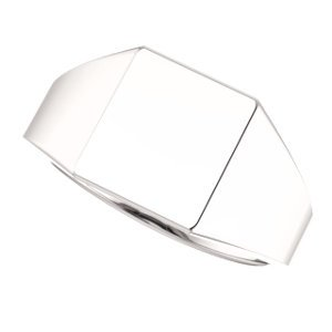 Men's Hollow Rectangle Signet Ring, 18k White Gold (11X10MM), Size 12 by The Men's Jewelry Store (Image #5)