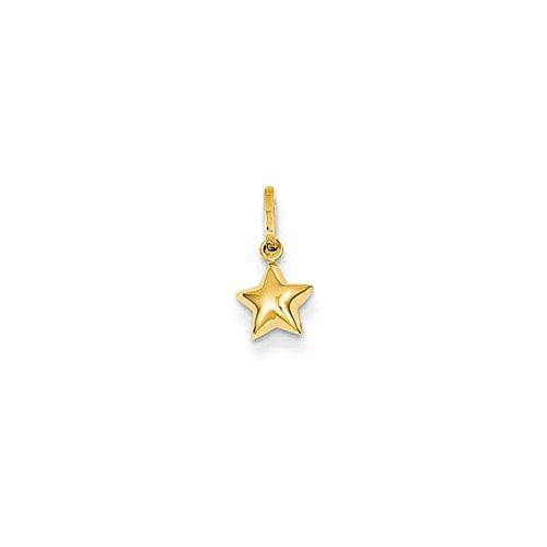 14k Yellow Gold Tiny 6mm Puffed Star Charm (Star Yellow 14k Gold Charm)