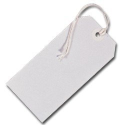1000 WHITE COLOURED LABEL TAGS LUGGAGE CARD 240GSM 120 X 60MM by Do Wrap Performance Headwear