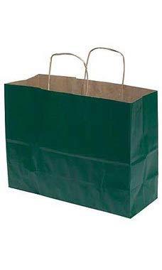 Large Hunter Green Paper Shopper (25 Bags/Case) - STOR-92778