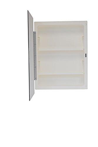 (Mirrors and More Recessed Frameless Beveled Polished Edge Mirror Medicine Cabinet | Adjustable Shelves | Bathroom | Kitchen | 16