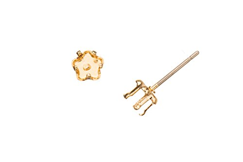 Clover Snap-On Ear Stud 14K Gold Finished Brass Fits 5mm Cabochons And Crystal With Surgical Stainless Steel Pin 5X5mm sold per 10pcs/pack (3pack bundle), SAVE ()