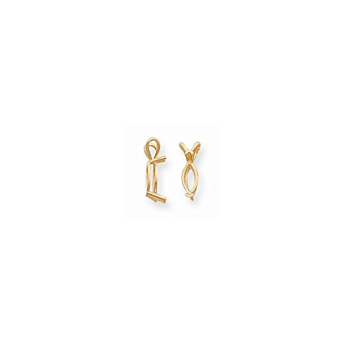 14K Yellow Goldy Marquise 2-Prong V-End 4 x 2mm Pendant Setting