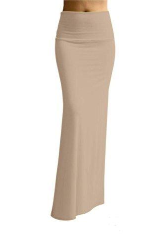 Azules Women's Rayon Span Maxi Skirt, Light Khaki, Size Medi