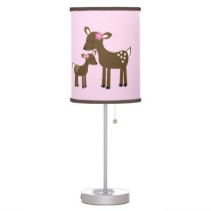 Woodland Willow Deer Girl Nursery Lamp with Light/Brown Trim Shade