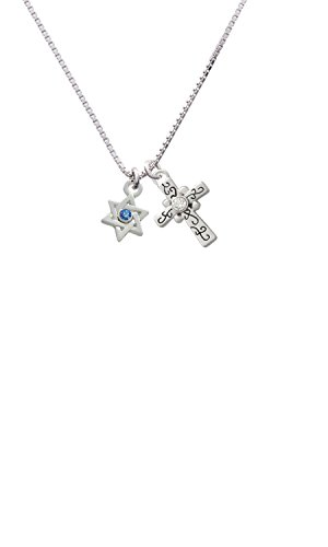 Crystal Loop Cross (Mini Star of David with Blue Crystal Scroll Cross Necklace, 18