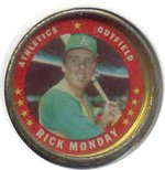 1971 Topps Topps Coins (Baseball) card#40 Rick Monday of the Oakland Athletics Grade very good/excellent