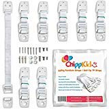 Furniture wall straps / Anti tip TV safety straps by ChippKid ✮ Easy to Install ✮ [8 pack] Top quality childproofing Earthquake Straps   Anchor any furniture or TV. Secure your home now!