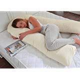Premium U Shaped Full Body Support Pillow, Pregnancy Pillow with Free Cream Pillowcase - Made in Britain - by True North Textiles Lancashire Textiles