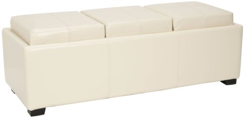 - Safavieh Hudson Collection Gramercy Cream Leather Triple Tray Ottoman