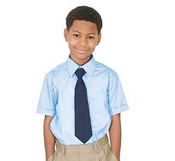 French Toast Little Boys' Short Sleeve Dress Shirt With Expandable Collar (Light Blue 6)